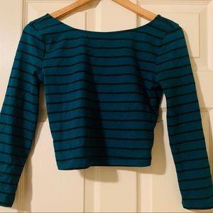 Dark green blue crop top with long sleeves